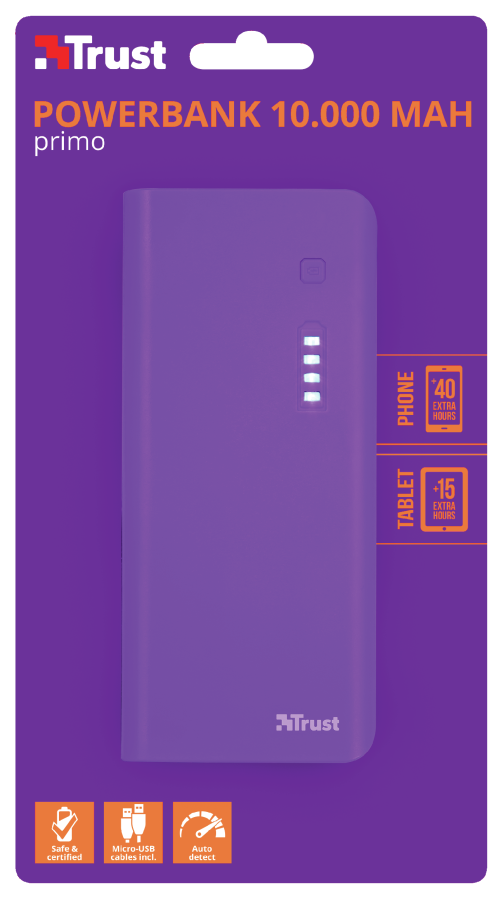 Powerbank Trust PRIMO 10.000 MAH Purple